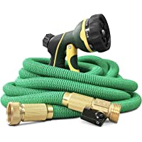 "NGreen Flexible Expandable Garden Hose - Easy Storage Kink Free Collapsible Water Hose 25/50/75/100 FT Strongest Triple Latex Core with 3/4"" Solid Brass Fittings Free and Spray Nozzle"