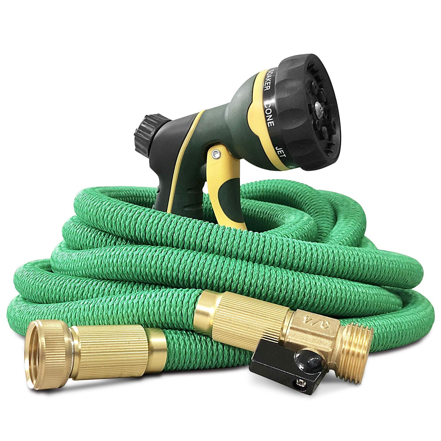 "NGreen Flexible Expandable Garden Hose - Easy Storage Kink Free Collapsible Water Hose 25/50/75/100 FT Strongest Triple Latex Core with 3/4"" Solid Brass Fittings Free and Spray Nozzle(25ft) product image"