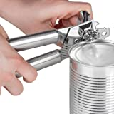Left Handed Can Opener, Stainless Steel and Chrome. Light Silver Left Handed Manual Can Opener with 3-in-1 Can Opener/Jar Opener/Bottle Opener Features. Ergonomic Handle and Hanging Loops.