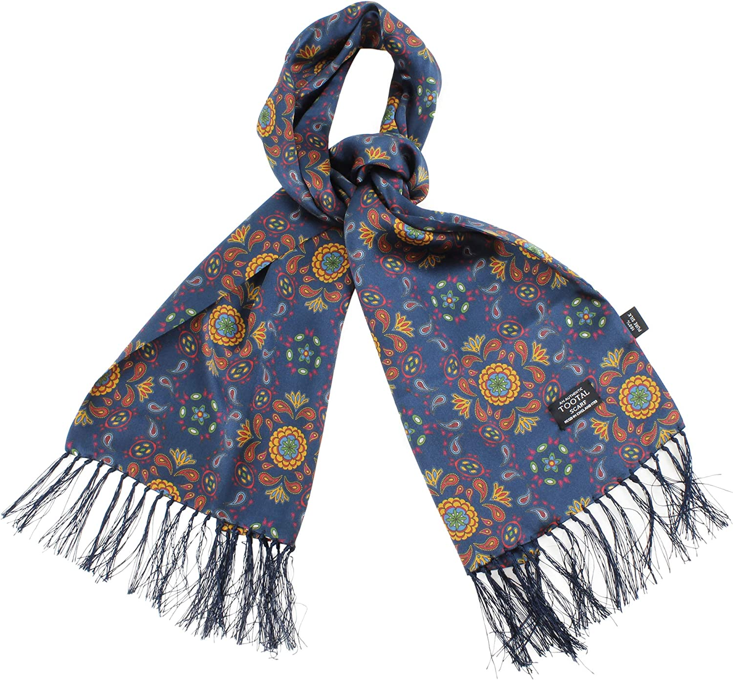 Tootal Navy Blue Abstract Paisley Print Silk Vintage Scarf