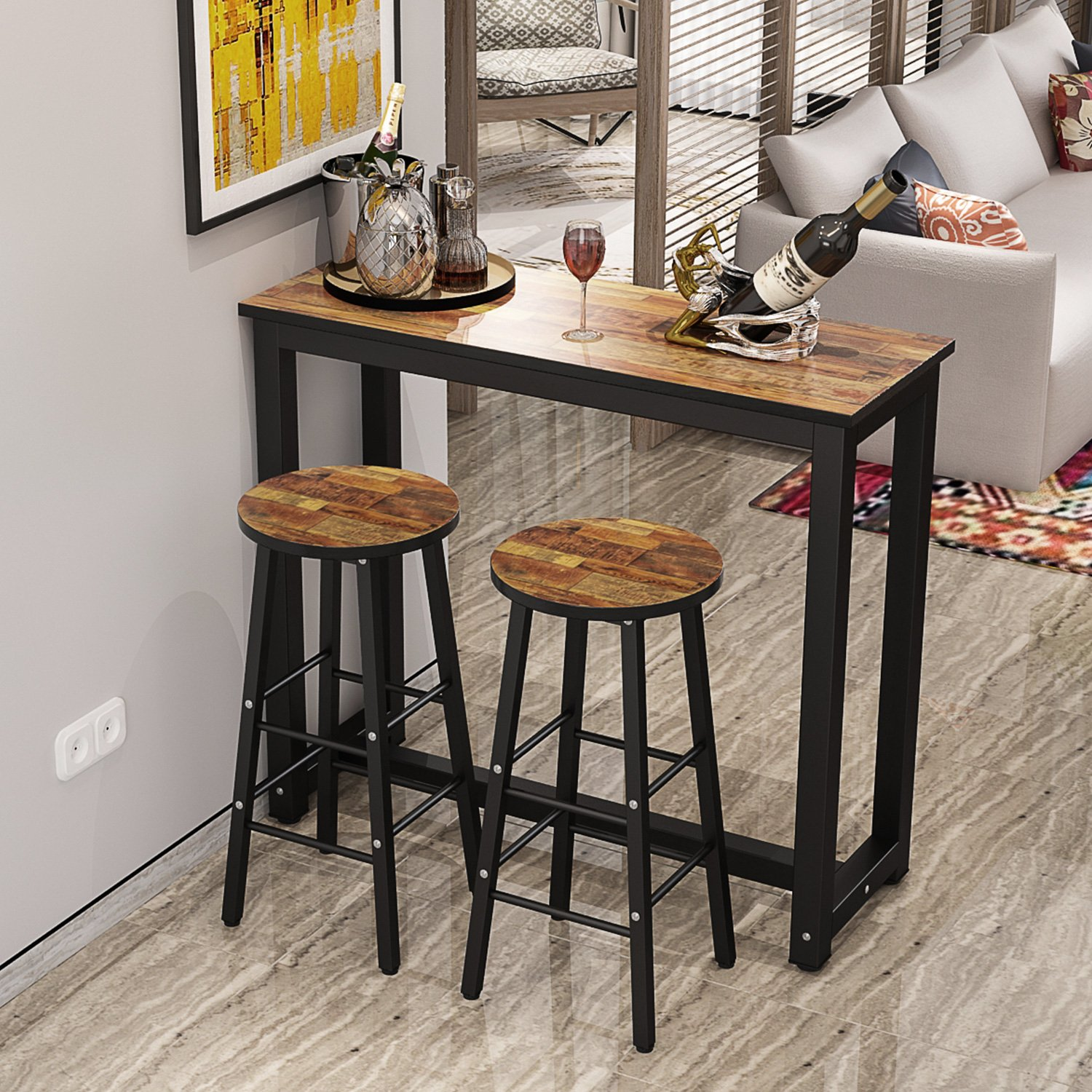 Tribesigns 9 Piece Pub Table Set, Counter Height Breakfast Bar ...
