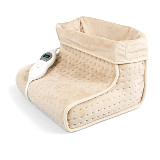 Vidabelle Fußwärmer in beige mit 3 Temperaturstufen, Abschaltautomatik, maschinenwaschbar, Füße aufwärmen mit dem Wärmeschuh