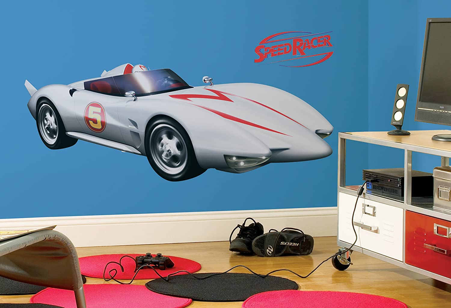 Amazon com roommates rmk1146gm speed racer mach 5 peel stick giant wall decal home improvement