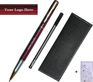 Personalized Engraved Roller Ball Point Pens Medium 0.5mm Black Ink Refills Metal Pen Customizable School Business Office Gift (Customizable Wine Red)