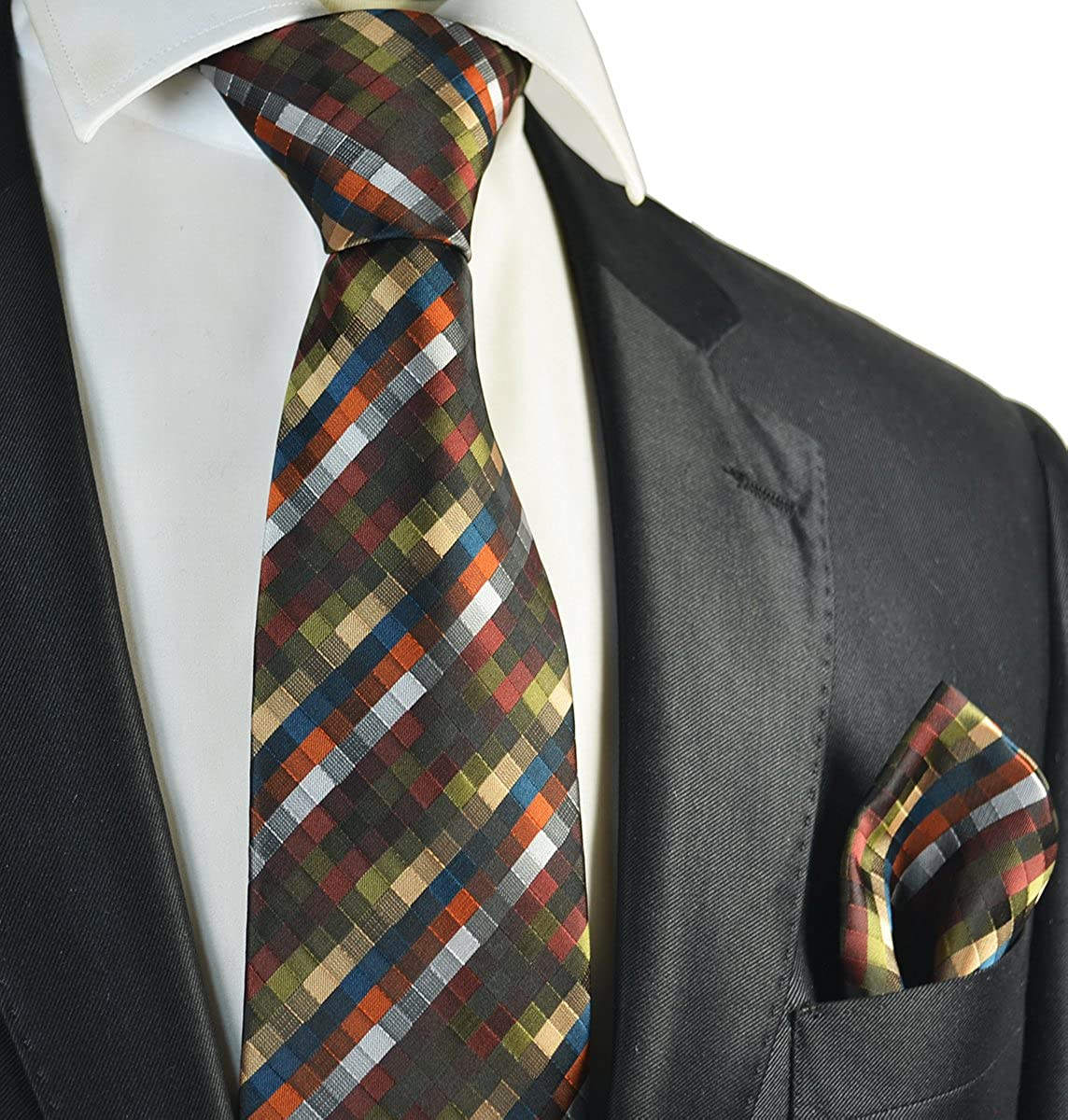 Olive Green Checked Mens Tie and Pocket Square Set
