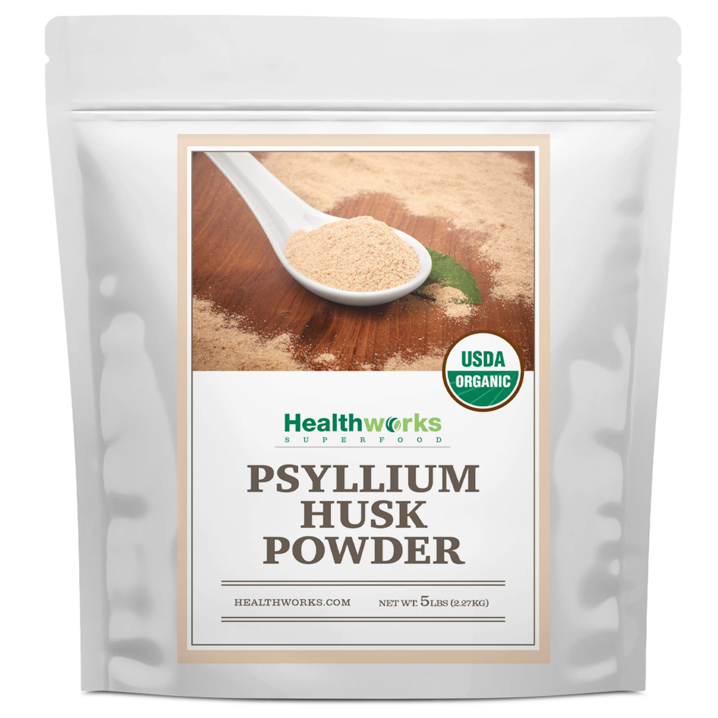 Healthworks Psyllium Husk Powder (80 Ounces / 5 Pounds) | Raw | Certified Organic | Finely Ground Powder from India | Keto, Vegan & Non-GMO | Fiber Support by Healthworks