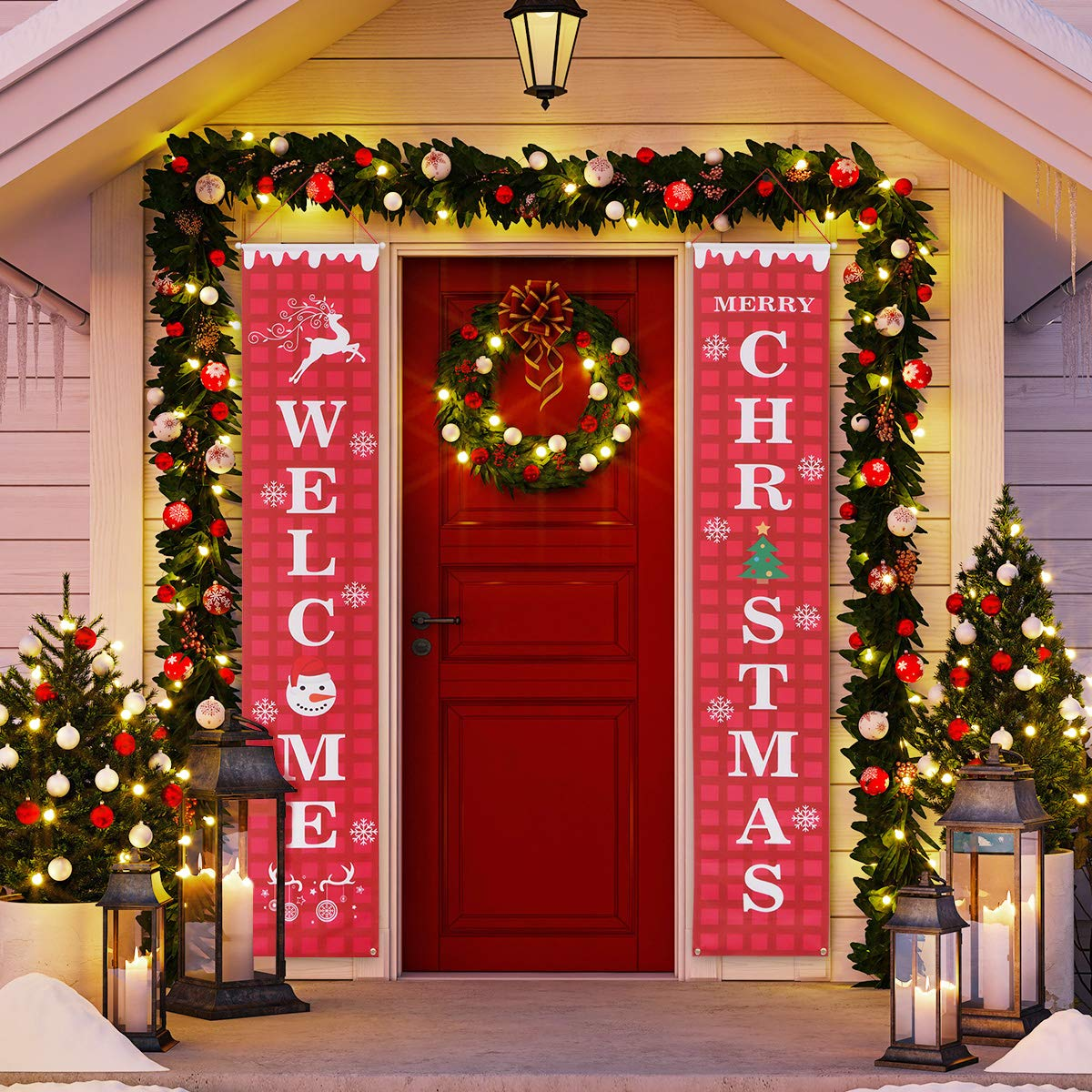 Vosarea Merry Christmas Banner Outdoor Indoor Decorations Welcome Christmas Porch Sign Red Xmas Decor Hanging Banner For Home Wall Door Apartment