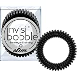 invisibobble SLIM Hair Ties, True Black, 3 Pack - No Kink, Strong Hold, Stylish Bracelet - Suitable for All Hair Types
