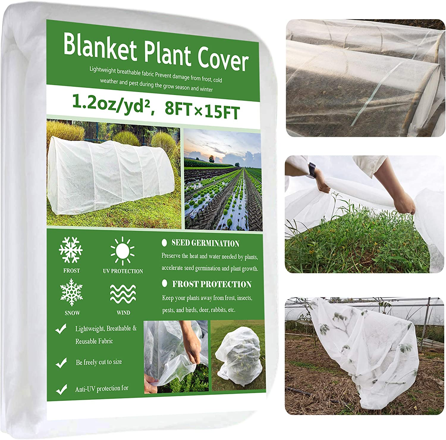Garden EXPERT Plant Covers Freeze Protection Floating Row Cover Thickened 1.2oz Fabric Frost Cloth Plant Blanket for Plants & Vegetables in Winter(8FTx15FT)
