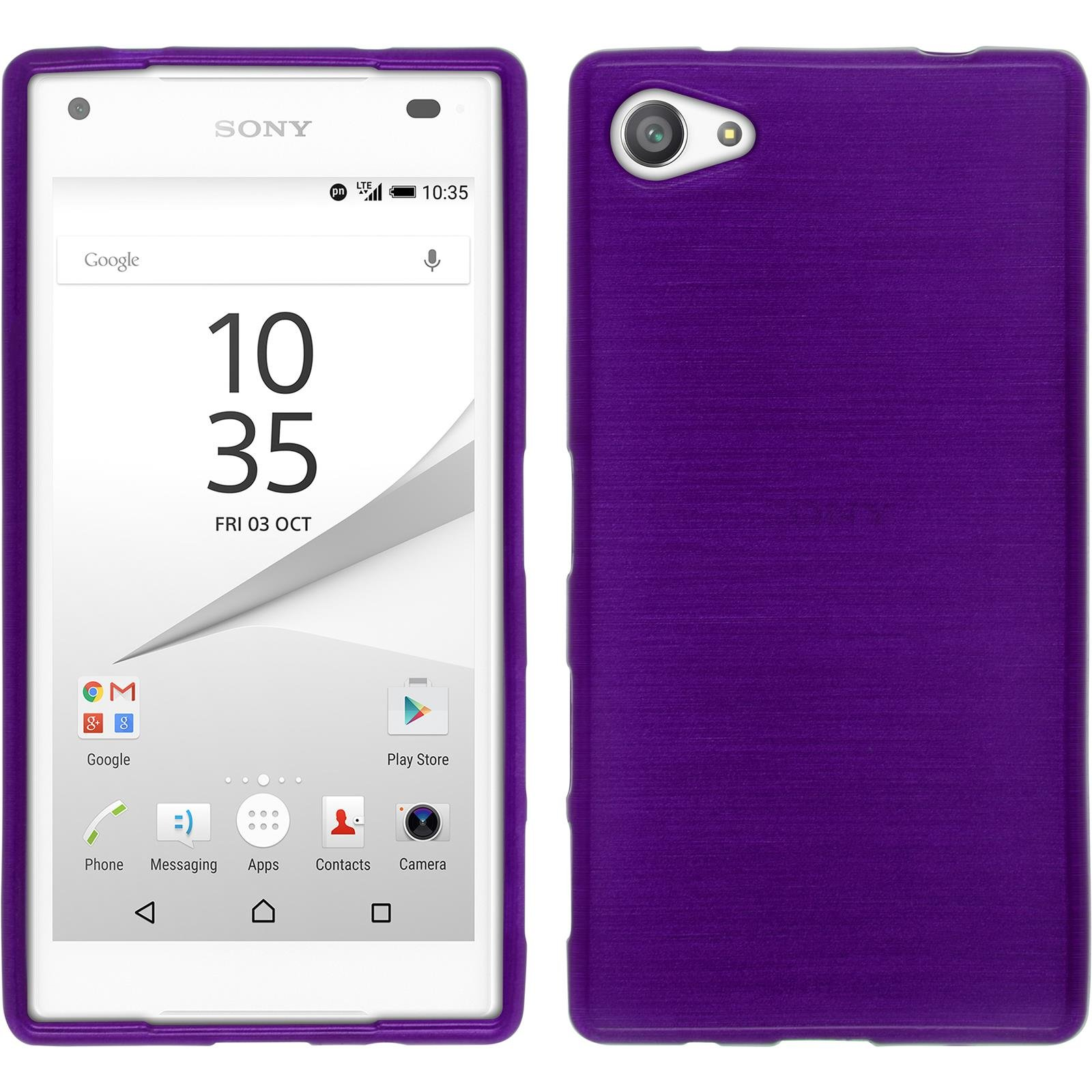 Silicone Case for Sony Xperia Z5 Compact - brushed purple - Cover PhoneNatic + protective foils
