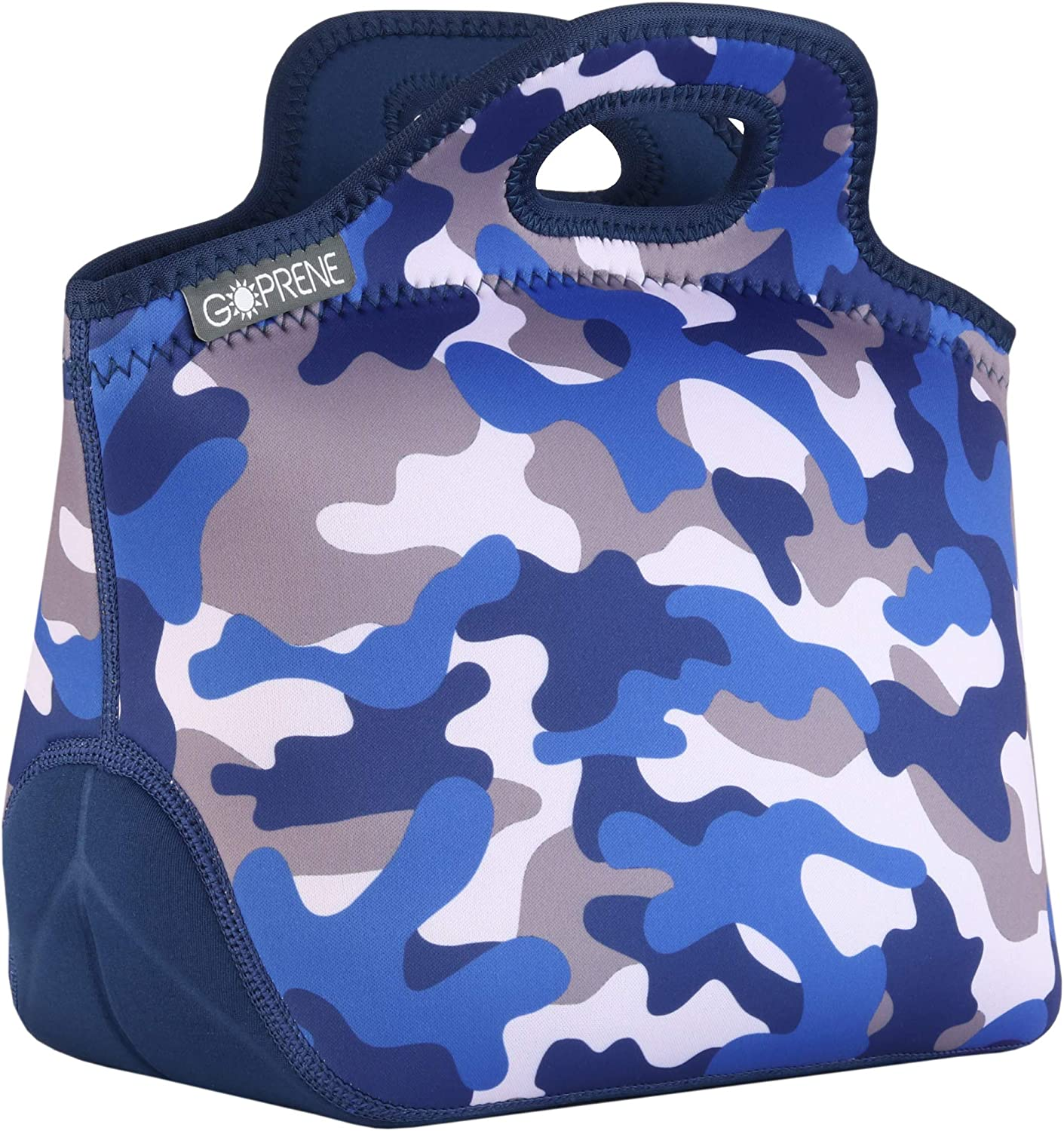 GOPRENE Lunch Bag For Boys, Fits A Kids Lunch Box, Insulated Neoprene Bag, Blue Camo, Bento Box and Thermos Fit Easily, Keeps Food Cold 4 Hours, Perfect For Your Son, Child, or Toddler at School