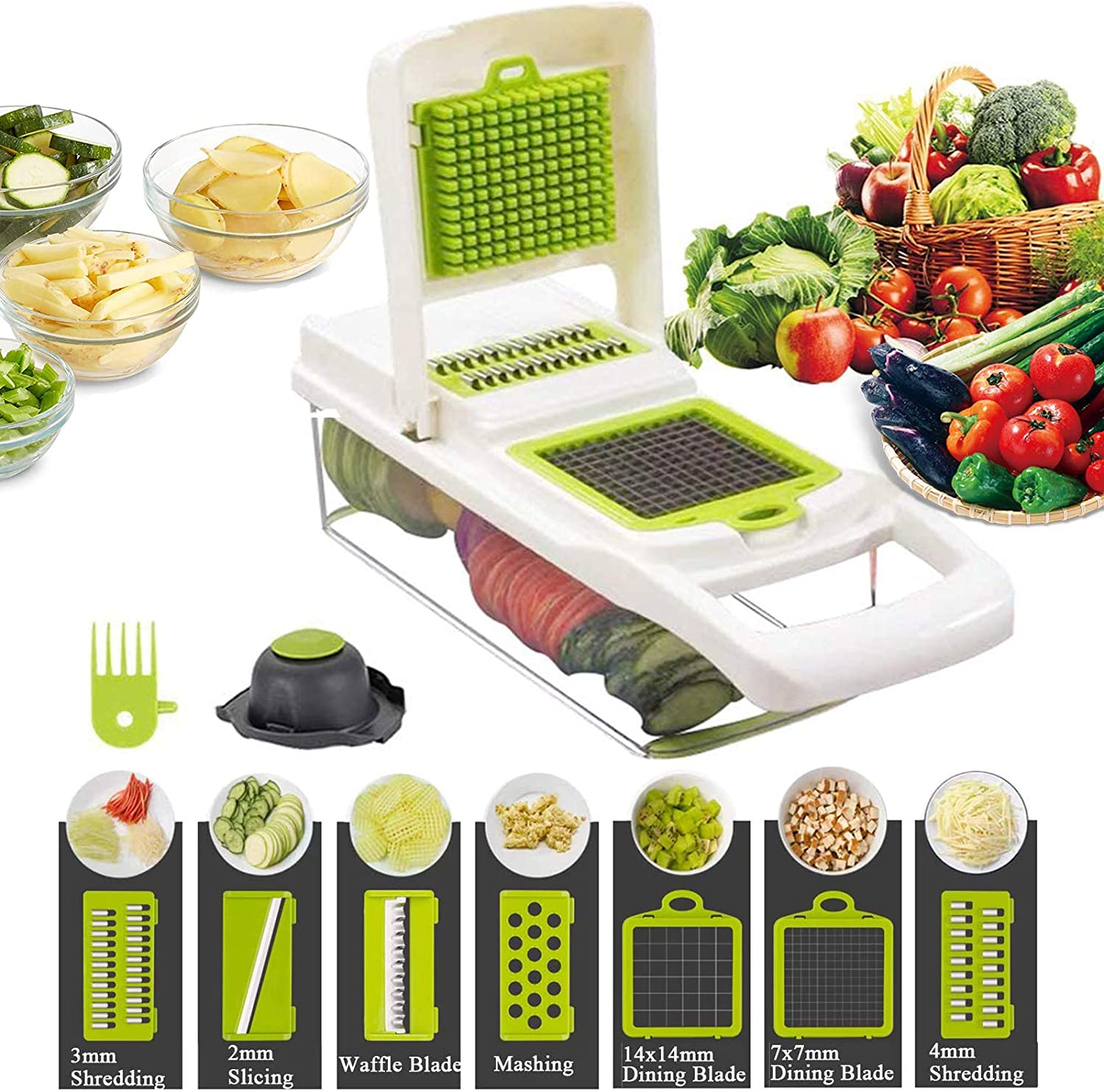 Vegetable Shredder, 12-In-1, The Third Generation Food Shredding (Slicing) Machine for Cutting Vegetables, Cheese, Fruits, Celery, Potatoes, Carrots, Fruit Salads (White)