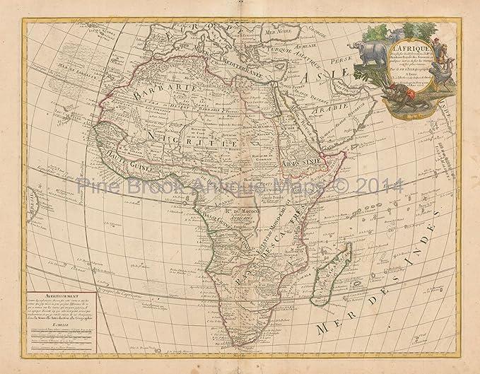 African Continent Antique Map DeLisle 1708 Original African Decor ...