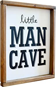 Little Man Cave Wood Wall Sign Toddler Boys Room Wall Decor Art for Kids Bedroom Wooden Framed Modern Farmhouse Wall Hanging Art