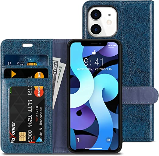 Amazon Com Jisoncase Iphone 12 Mini Case Genuine Leather Iphone 12 Mini Wallet Case With Photo Holder Magnetic Cover Kickstand Card Slot Flip Case For Apple Iphone 12 Mini 5 4 Inch 2020 Blue