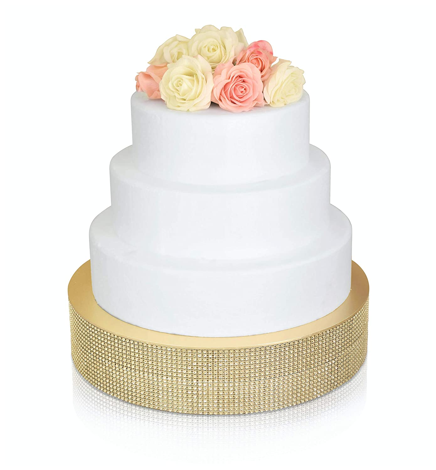 OCCASIONS Bling Wedding Cake Stand (Holds 150 lbs), Cupcake Base, Decorating Party Centerpiece (12 inch Round, Soft Gold) 81xVitd9h7L