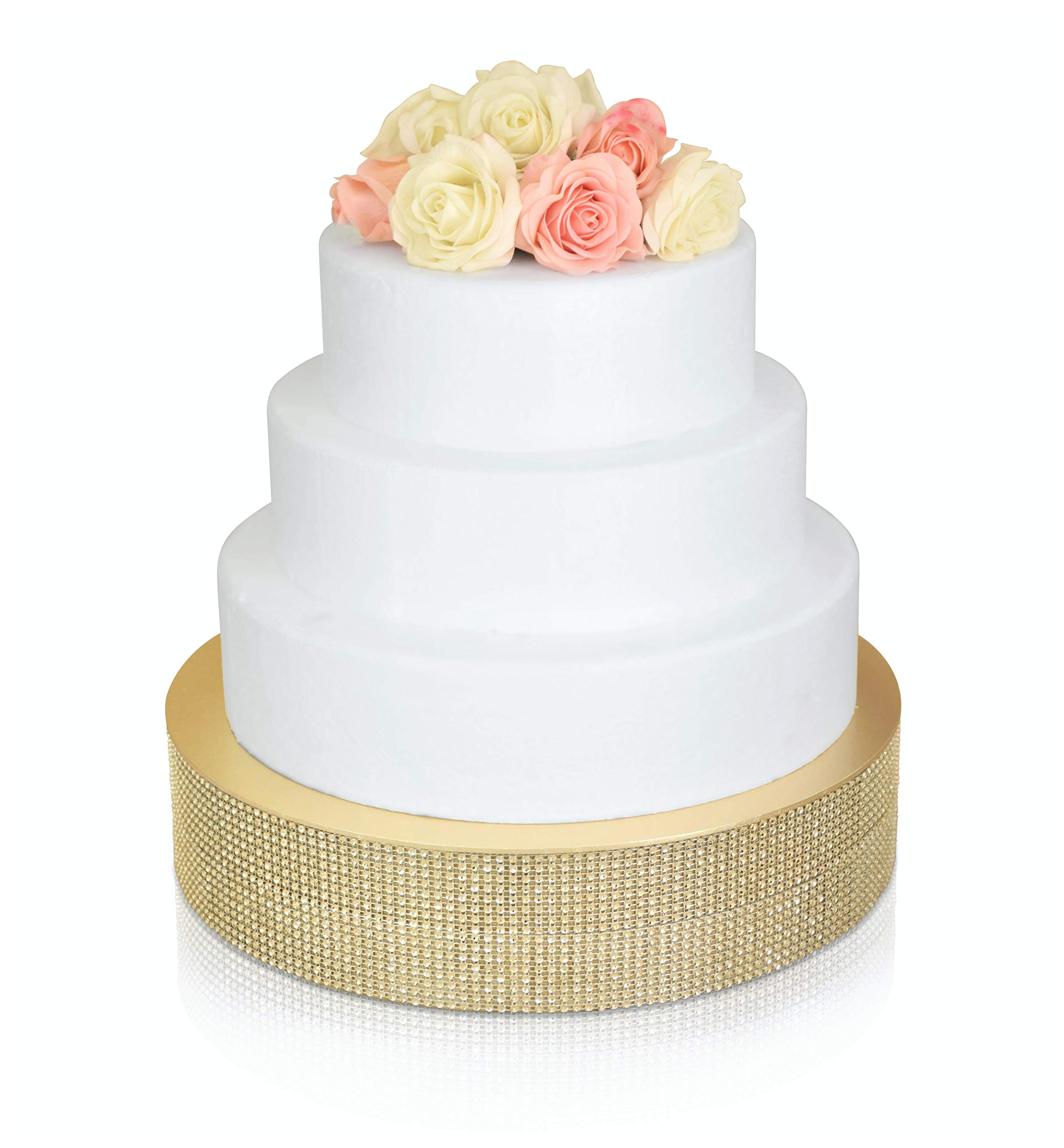 '' OCCASIONS'' Bling Wedding Cake Stand (holds 150 lbs) Cupcake Base, Decorative Centerpiece for Parties (16'' Round, Soft Gold) by OCCASIONS FINEST PLASTIC TABLEWARE