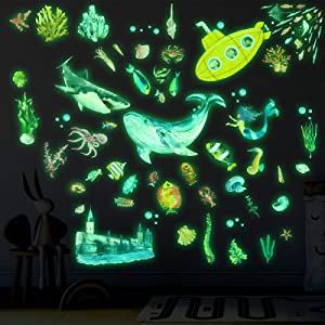 63 Pieces Glow in The Dark Sea Wall Stickers Ocean Themed Fluorescent Stickers Sea World Creature Stickers Luminous Underwater Animal Wall Decor for Kids Bedroom Nursery