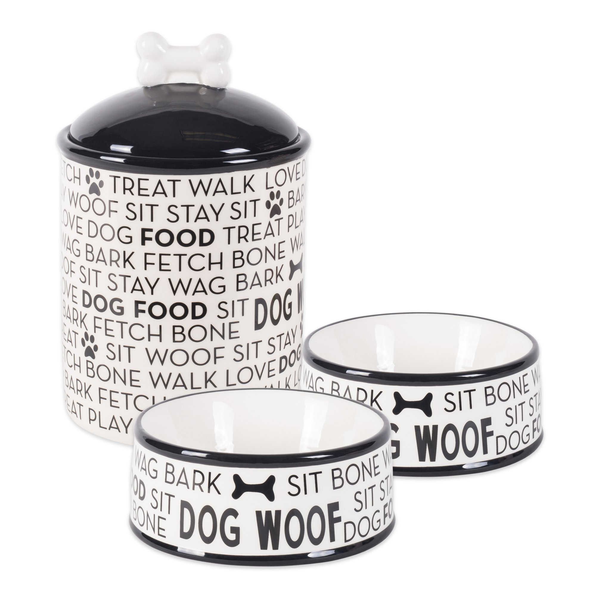 Bone Dry DII Ceramic Pet Food & Water Bowls 6.25'' (Dia) x2.5 (H) and Treat Storage Canister 5.5'' (Dia) x8.25 (H), Set of 3, Perfect Feeding Supplies and Treat Jar for Dogs and Cats - Black Dog Text by Bone Dry
