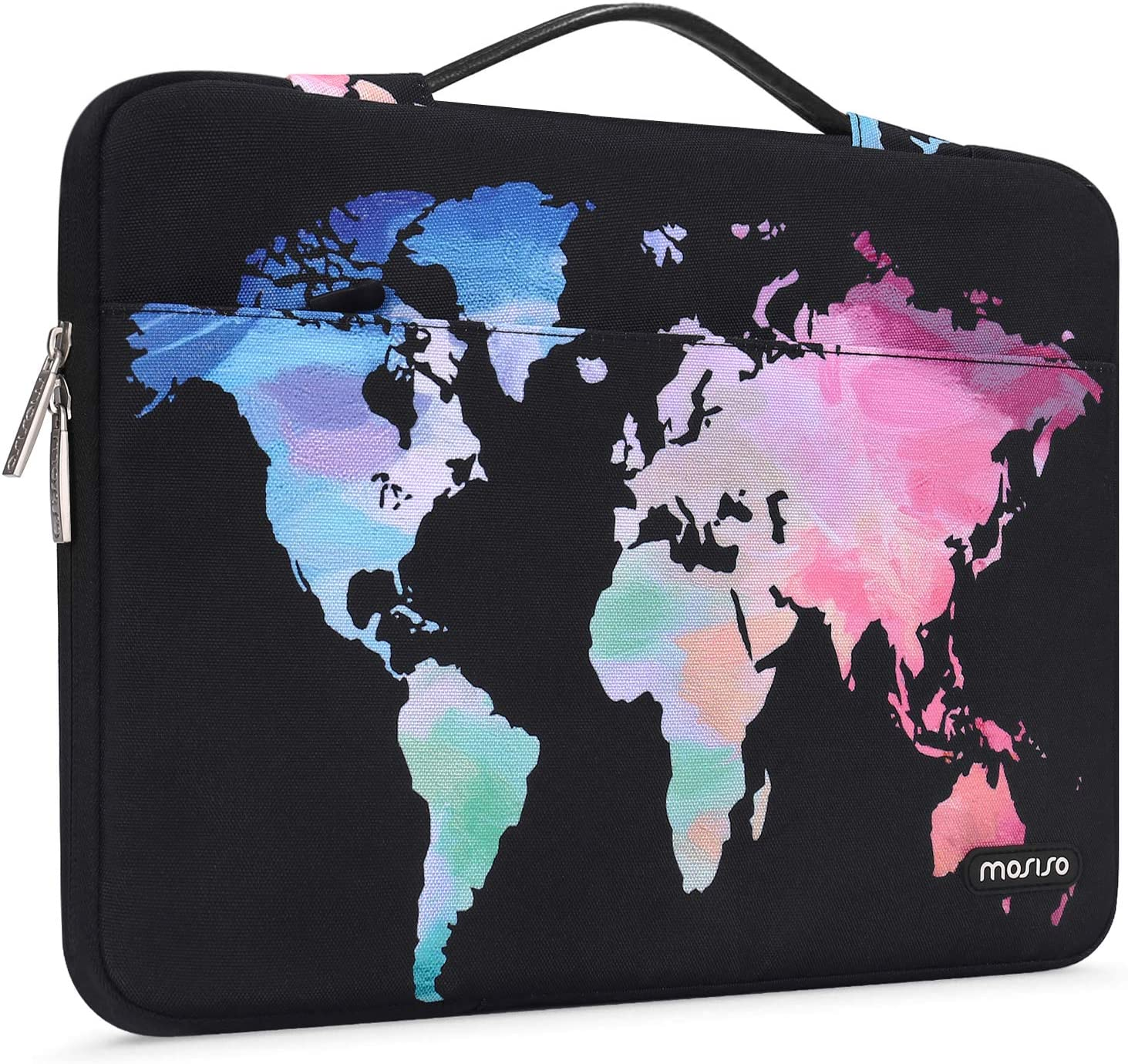 MOSISO Laptop Sleeve 360 Protective Case Bag Compatible with 13-13.3 inch MacBook Pro, MacBook Air, Notebook, Polyester Pattern Shockproof Handbag with Trolley Belt, Black World Map