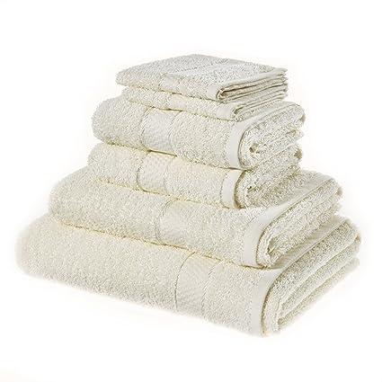 bargainshop 8 piezas crema toalla Bale Set 100% puro algodón cara, mano, toallas