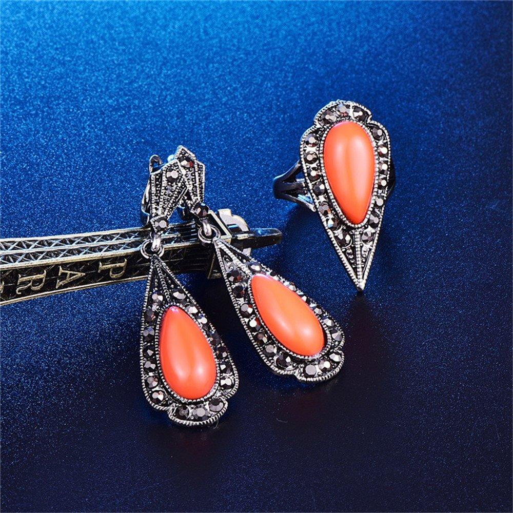 LUYUAN JEWELRY Women Girls Teardrop Triangle Jewelry Set Cute Resin Fashion Pendant Necklace Earring Ring Set - Orange+Ring#8