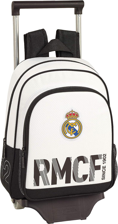 Real Madrid CF Mochila Pequeña Ruedas, Carro, Trolley, Niños, Blanco, 34 cm: Amazon.es: Ropa y accesorios