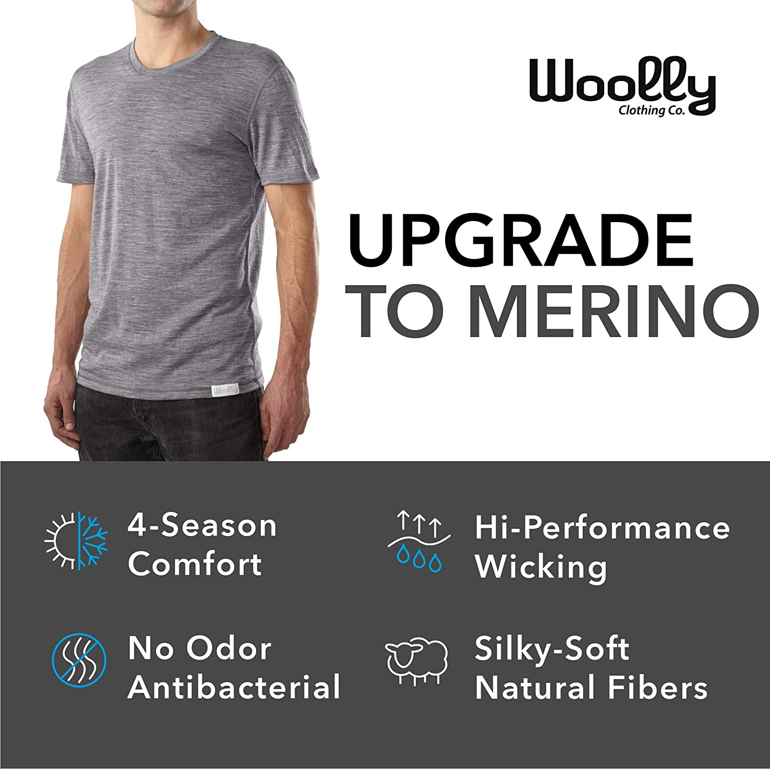 60f84fcc674 Amazon.com: Woolly Clothing Men's Merino Wool Crew Neck Tee Shirt -  Everyday Weight - Wicking Breathable Anti-Odor: Clothing