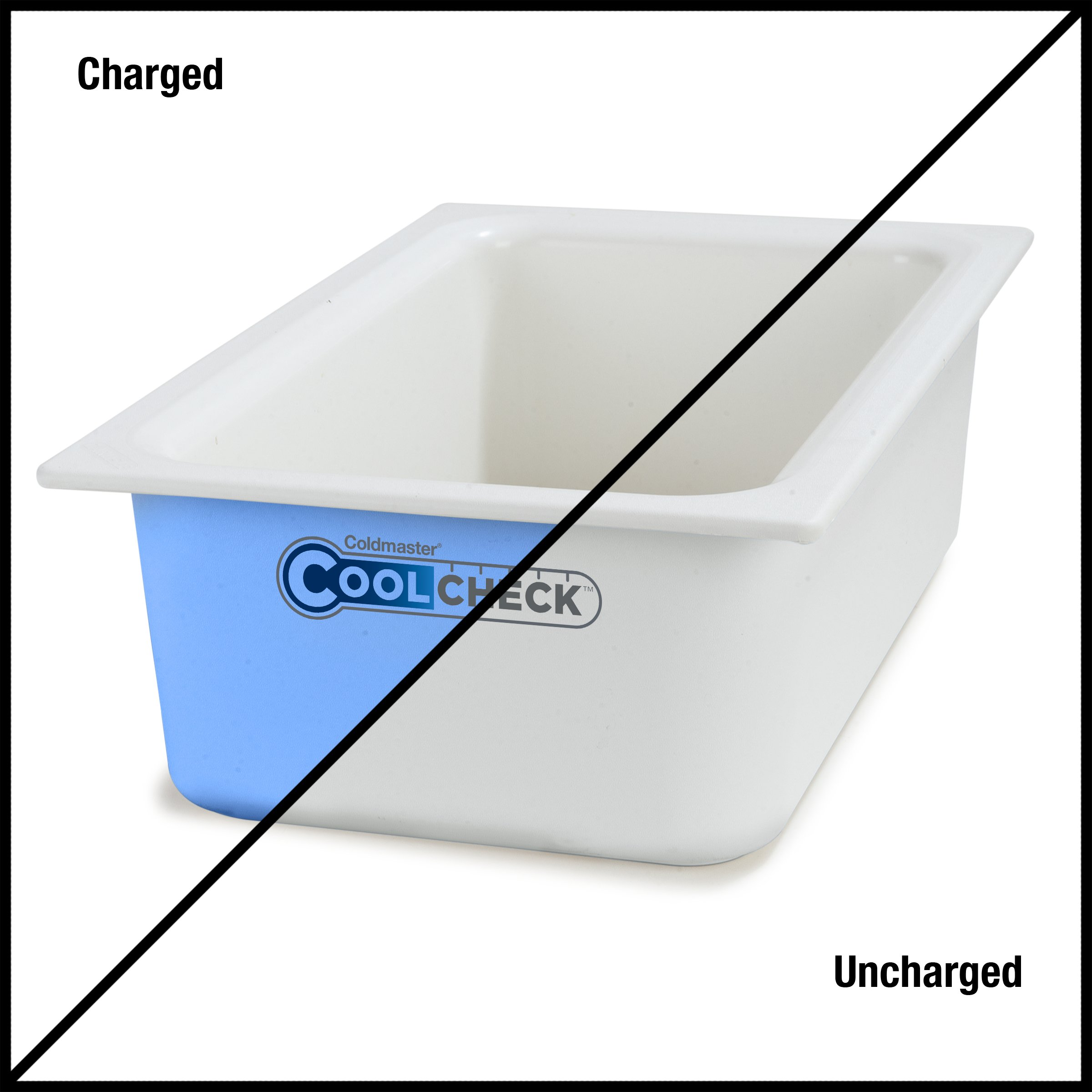 Carlisle CM1100C1402 Coldmaster CoolCheck 6'' Deep Full-Size Insulated Cold Food Pan, 15 Quart, Color Changing, White/Blue by Carlisle (Image #9)