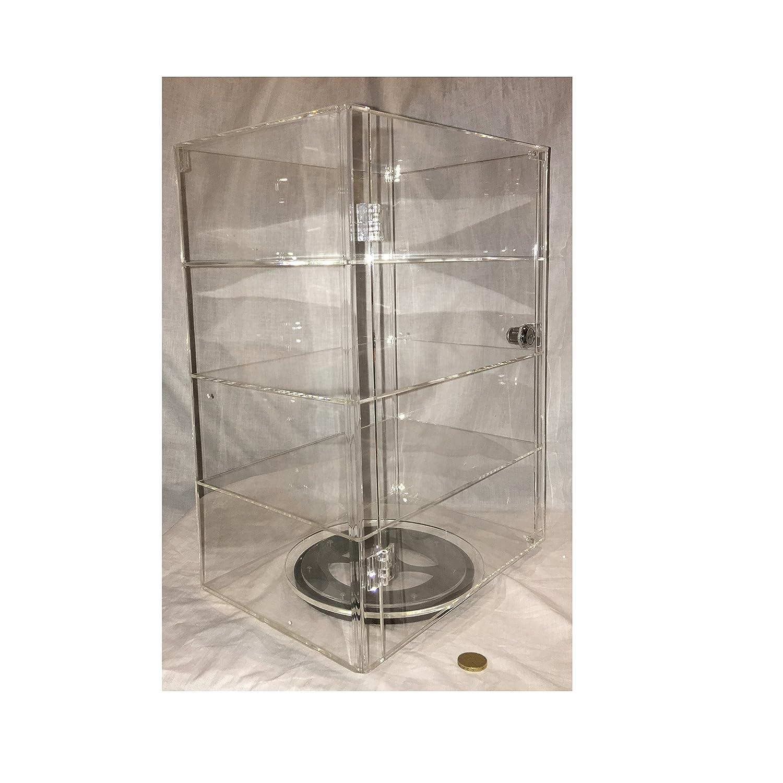 PC3721/® 1 Vitrina de acr/ílico transparente de alto brillo con puerta frontal cerradura de seguridad y plato giratorio fijo DB089TT-8IN