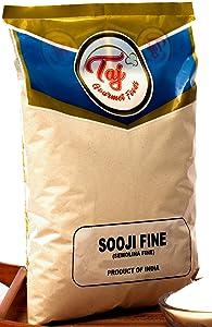 TAJ Premium Indian Sooji Fine Flour, Farina Suji Rava, (10 Pounds)