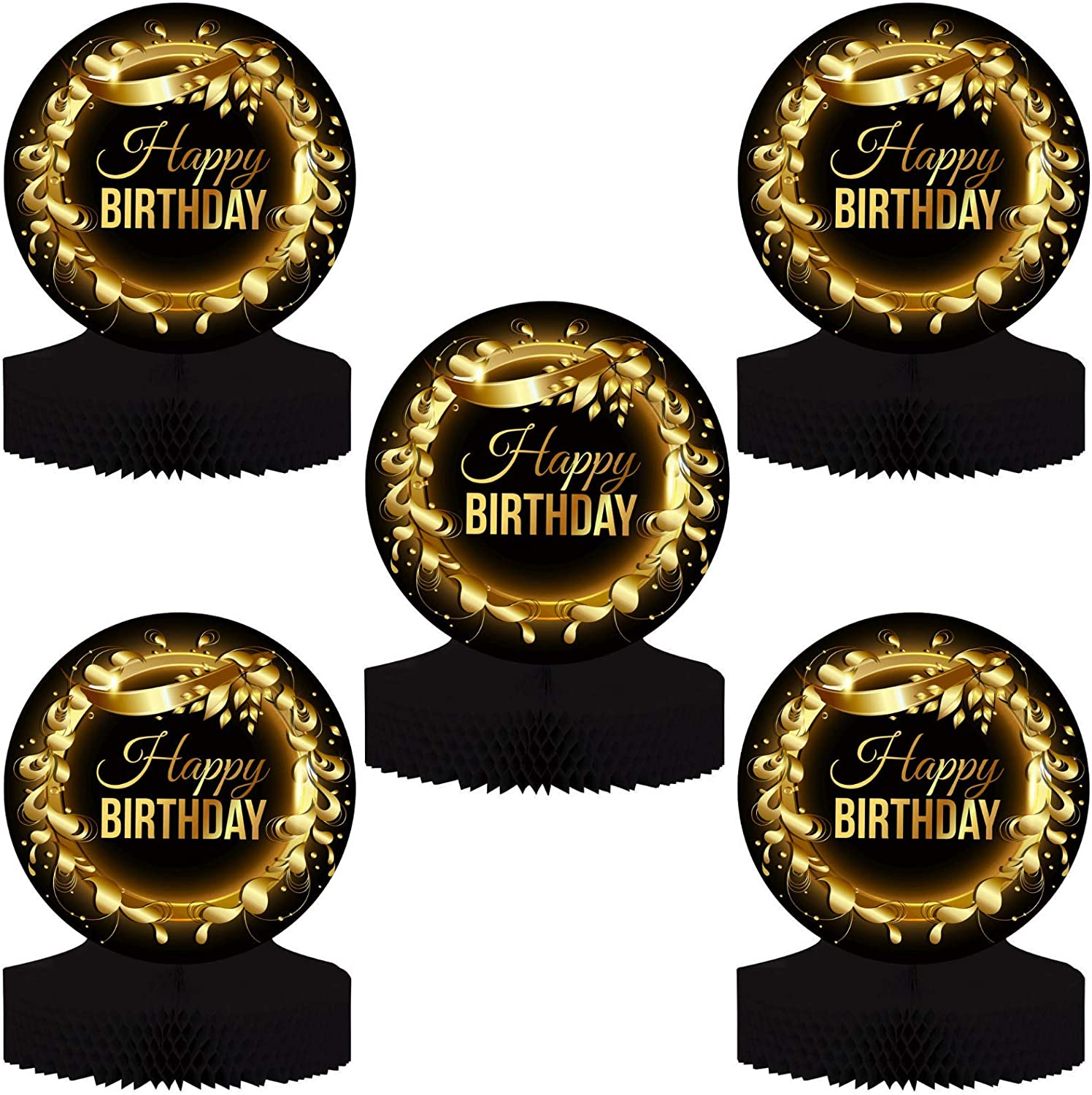 """Birthday Table Centerpiece Decoration - 5-Pack Double Sided Cardstock & Tissue Paper Honeycomb Happy Birthday Decorations - 12"""" Birthday Party Decorations Centerpieces for Table Decorations"""