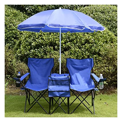 Astounding Costway Portable Folding Picnic Double Chair W Umbrella Table Cooler Beach Camping Chair Machost Co Dining Chair Design Ideas Machostcouk
