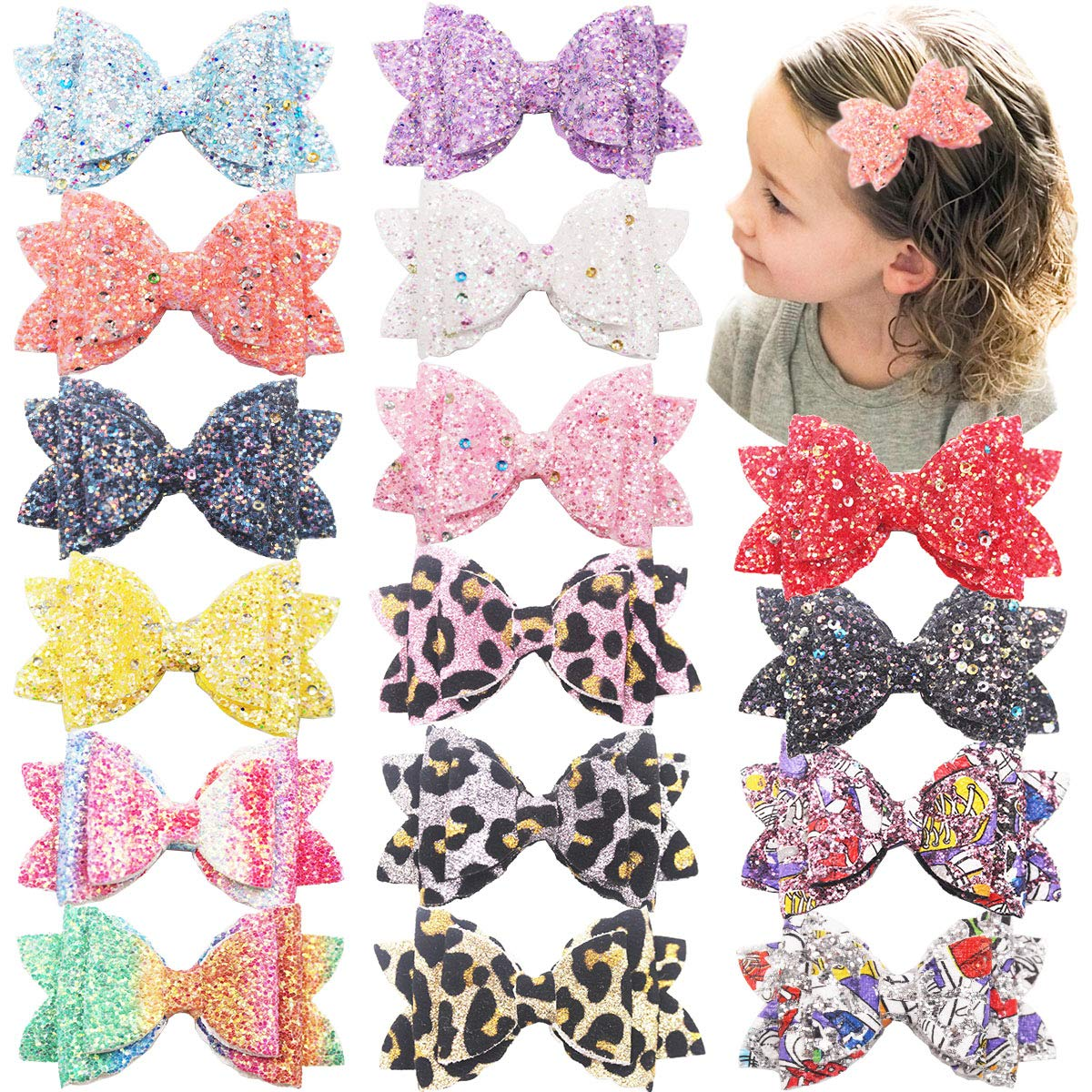 16PCS Glitter Hair Bows for Girls 3.5Inch Sparkly Sequin Glitter Bows Alligator Hair Clips Hair Accessories for Baby Girls Toddlers Kids Children