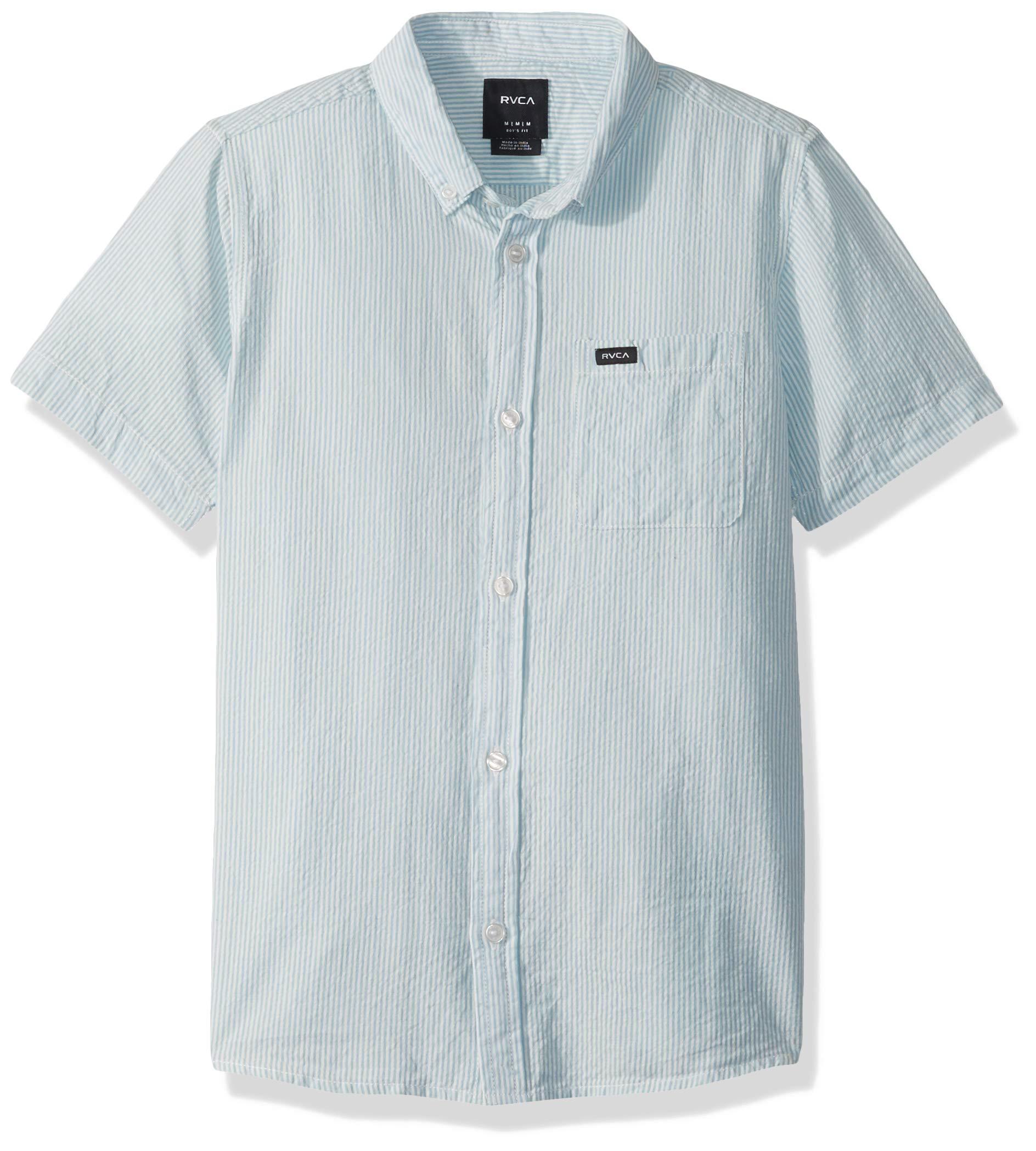 RVCA Boys' Big Thatll DO HI Grade Short Sleeve Woven Button UP Shirt, Sky Blue, XL