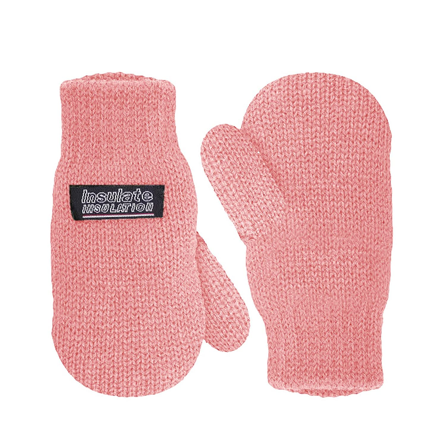 SANREMO Unisex Kids Toddler Knitted Fleece Lined Warm Winter Mittens