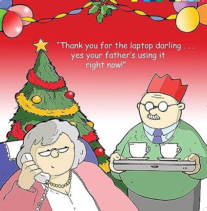 Twizler Tarjeta de feliz Navidad con abuelos y portátil ...
