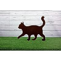 Sagoma da giardino in acciaio corten gatto che cammina