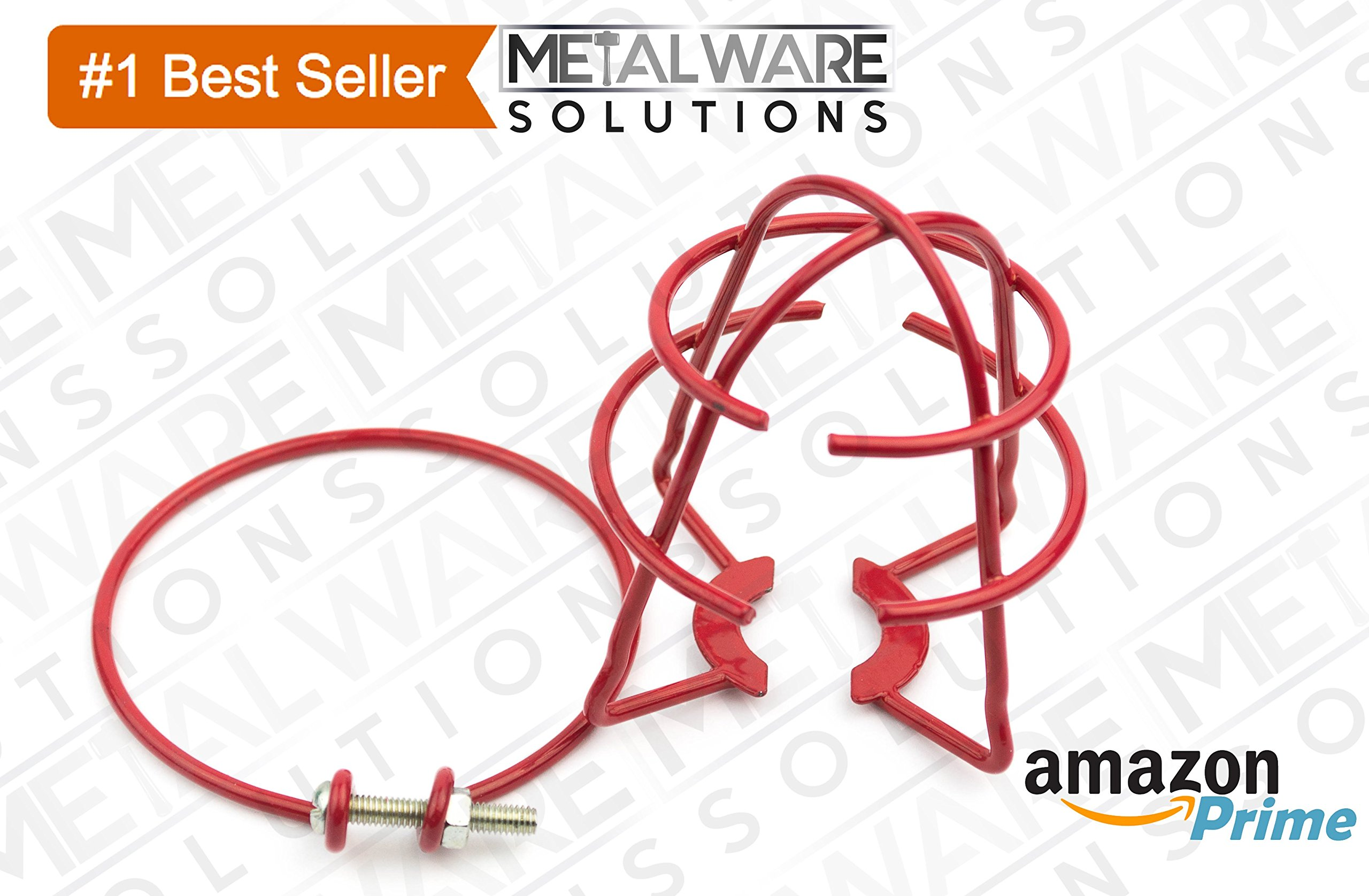 5 Pack - Metalware Solutions Red Fire Sprinkler Head Guard with Easy Screw Cover for 1/2'' IPS Head by Metalware Solutions (Image #2)