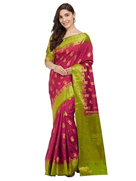 e0e287228128ad Trendy Store Pink and Parrot Green Color Woven Banarasi Silk Saree With  Blouse Piece  Amazon.in  Clothing   Accessories