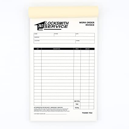 receipt book invoices for locksmiths