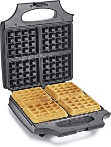 """BELLA 4 Slice Non-Stick Belgian Waffle Maker, Fluffy Restaurant-Style Waffles in Under 6 Minutes, Quickly Makes 4 Large 4"""" x 4.5"""" & 1.2"""" Thick Waffles, Easily Wipe and Clean, Stainless Steel/Black"""