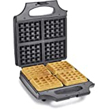 """BELLA 4 Slice Non-Stick Belgian Waffle Maker, Fluffy Restaurant-Style Waffles in Under 6 Minutes, Quickly Makes 4 Large 4"""" x"""