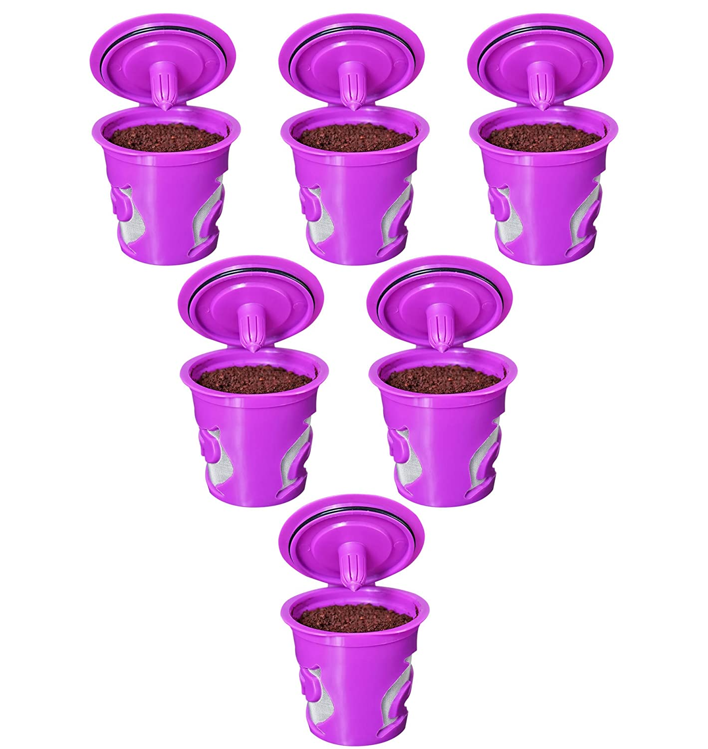 FROZ-CUP 2.0 - 6 Refillable/Reusable K Cups for Keurig 2.0 - K200, K300, K400, K500 Series and all 1.0 Brewers (6-Pack)