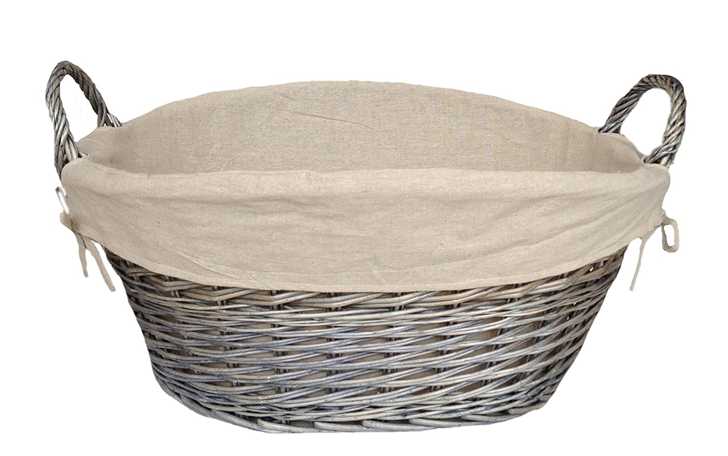 Red Hamper Antique Wash Lined Laundry Basket, Wicker, 51 x 64 x 29 cm H038