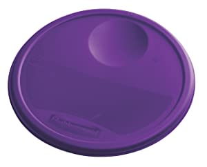 Rubbermaid Commercial Lid (Lid Only) for Round Food Storage Container, Fits 12 Qt. Containers, Purple (1980391)