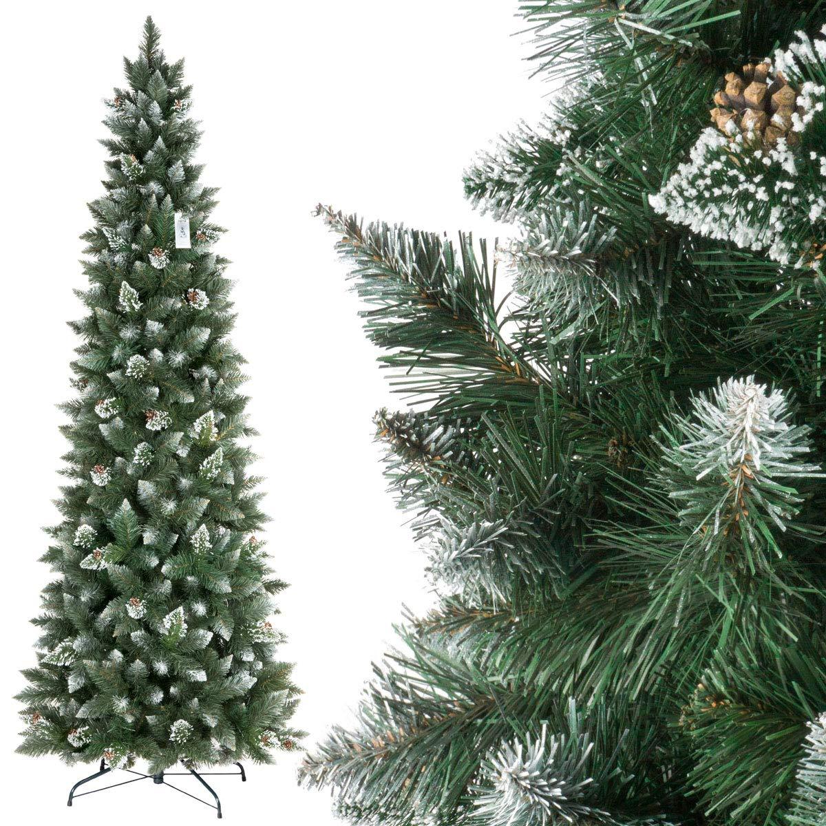 FairyTrees Albero di Natale artificiale PINO, innevato bianco naturale, materiale PVC, vere pigne, incl. supporto in metallo, 120cm
