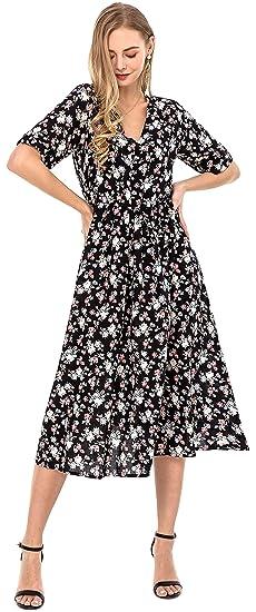 e614047da5b5a Wantdo Women's Casual Floral Dress V Neck Short Sleeve Slim Fit Long Dresses