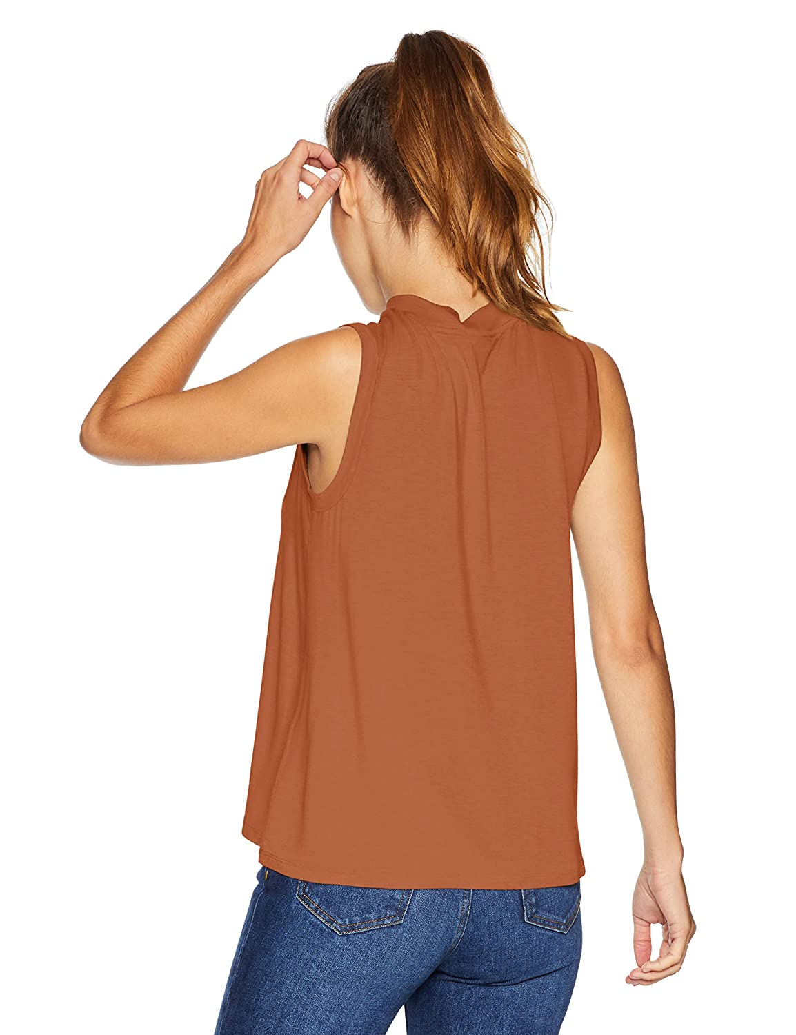 Daily Ritual Womens Jersey Sleeveless Boxy Mock-Neck Shirt Brand