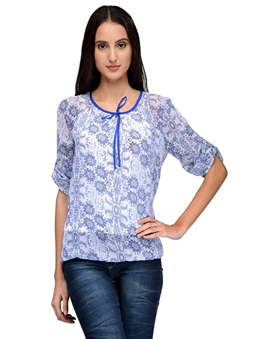 Tunic Nation Women's Floral Print Poly Gerogette Top Women's Tops